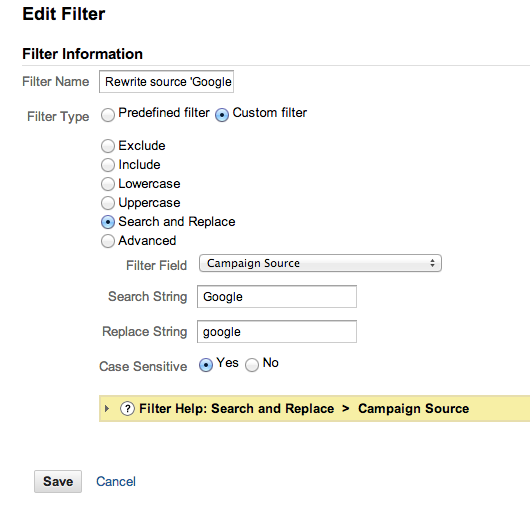 Google Analytics custom filter example